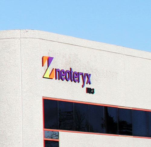 Exterior image of Neoteryx 3 building with Neoteryx logo