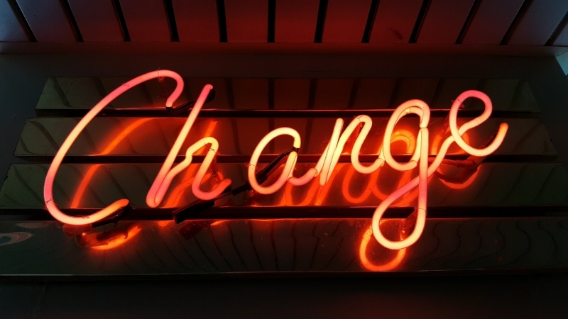 The word, Change made of orange neon