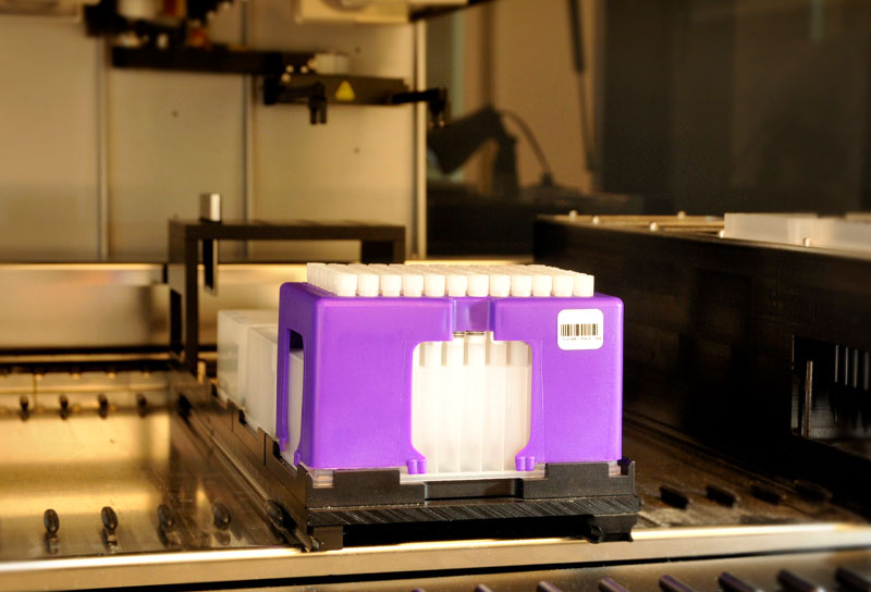 Compatibility with liquid handling robotics allows rapid accessioning and extraction of microsamples.
