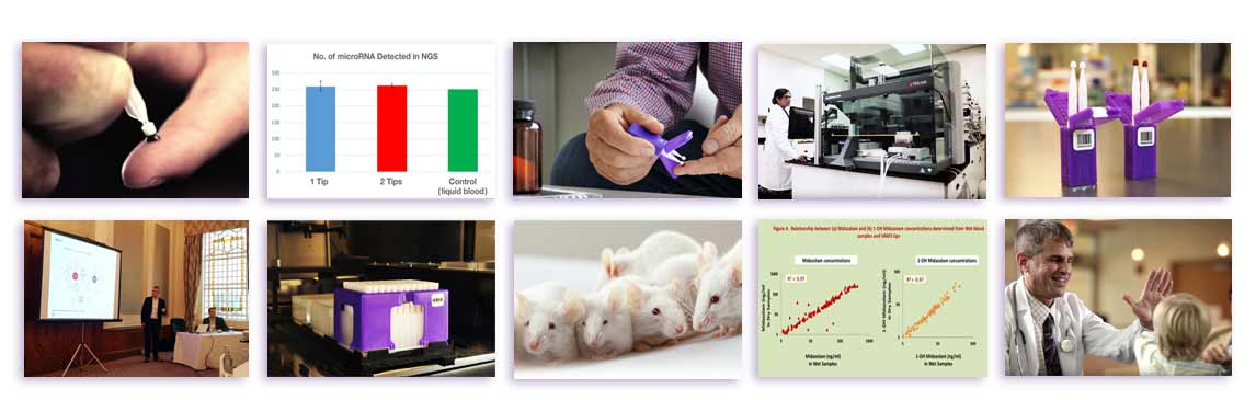 a billboard image collage of various microsampling applications case studies, science posters videos manuals etc