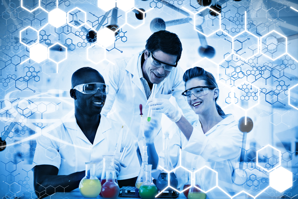 Science graphic against happy scientist examining test tube on digitally generated background