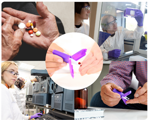 a photo collage of a scientist and patients interacting with VAMS technology.