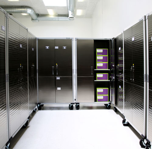 Interior of Neoteryx Building 2, manufacturing facility storage units