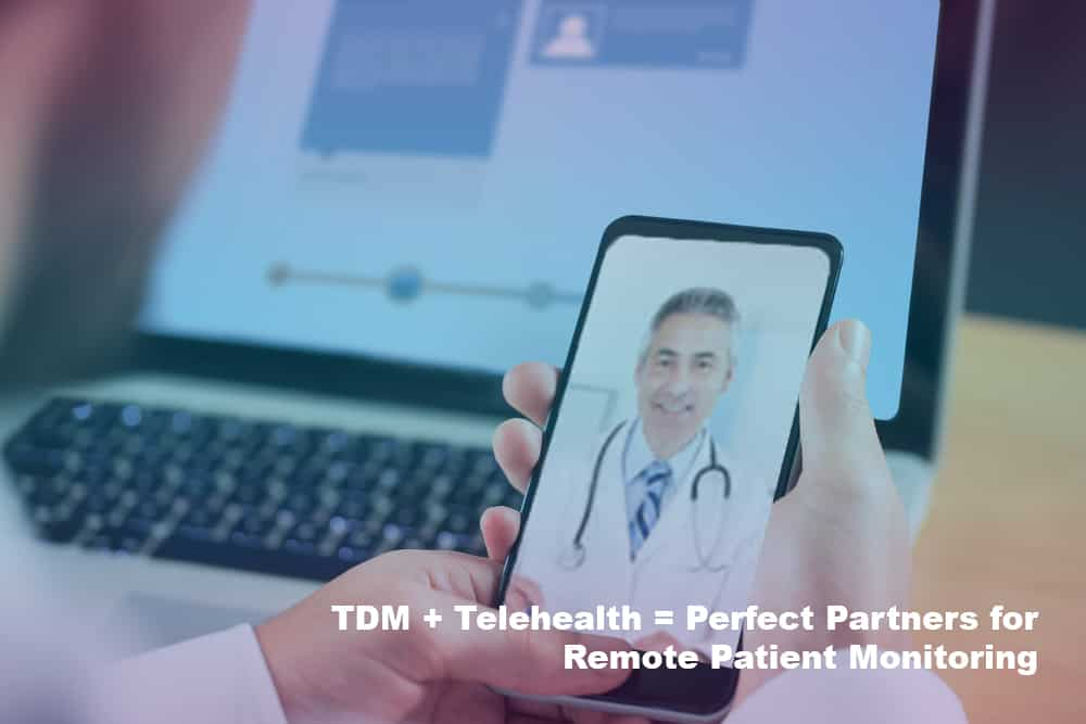 remote therapeatuic monitoring device held by doctor in front of screen blue purple gradient with doctor on phone