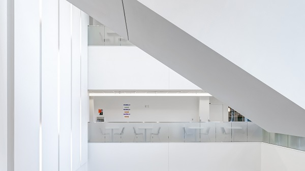 interior of a modern hospital, white walls minimalist design