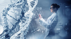 A photo collage of a scientist in a futuristic lab with large DNA strands over imposed on the image