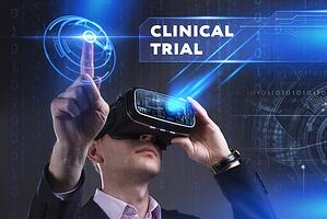 Holographic illustrations depicting Virtual Clinical Trials as imagined through VR technology