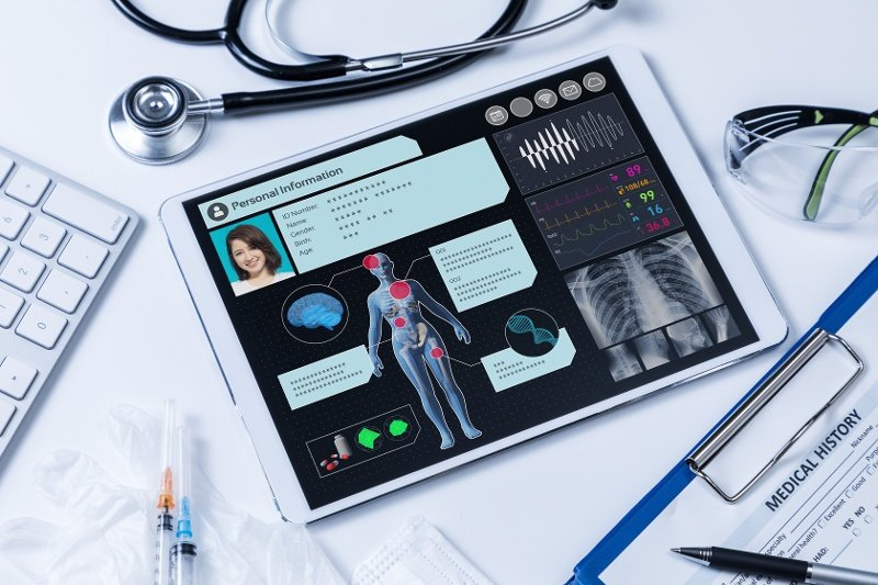 a computer tablet with a displaying a variety of health and specific medical history of a female patient