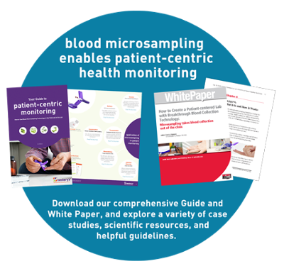 graphic link to White Paper download outlining the trend towards blood microsampling to improve patient centered care