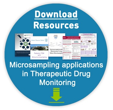 TDM resource bundle graphic -  click to download various third party therapeutic drug monitoring case studies showcasing their research and successful method application of a micro specimen collection workflow