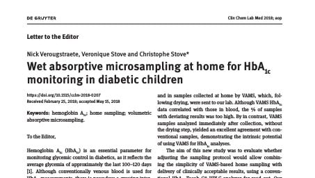 New Study Validates Neoteryx's VAMS™ Technology for At-home Blood Collection In Monitoring HbA1c Levels of Diabetic Children